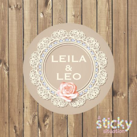 Personalised Wedding Stickers - Lace Design